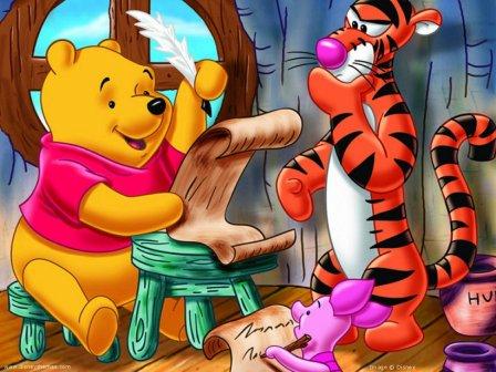 oso pooh escribiendo